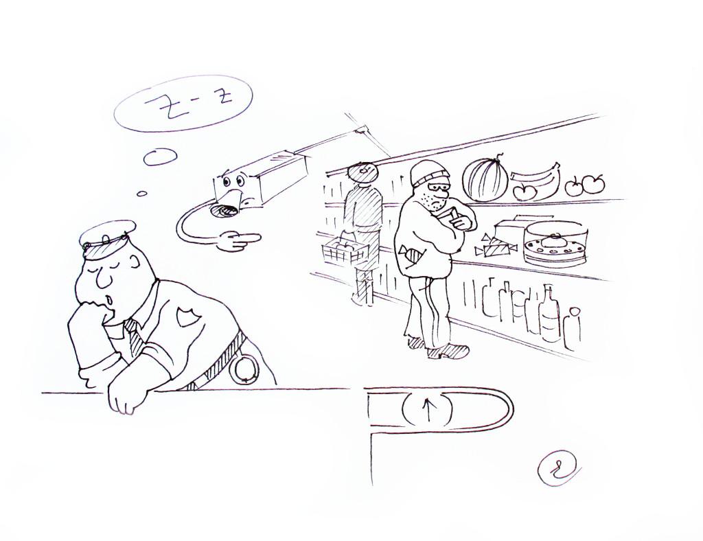 Рисунок - видеокамера с глазками грустно смотрящая как в магазине посетитель прячет товар, при этом руками и мимикой пытается это показать, но охранник спит.