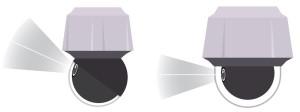 Две камеры - справа обычная камера, слева Sharpdome