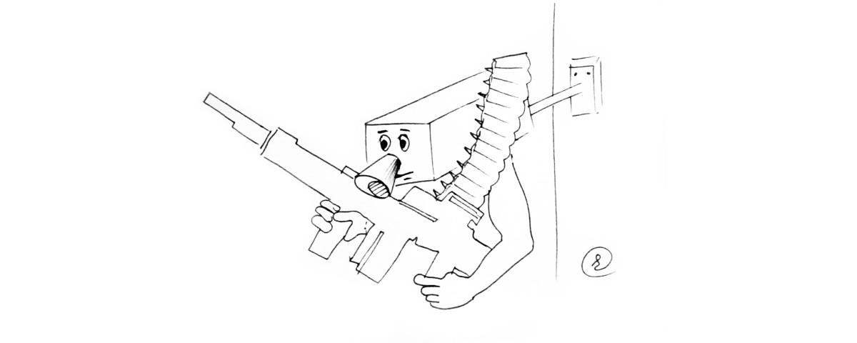 Видеокамера с пулеметом в руках и с пулеметной лентой на груди
