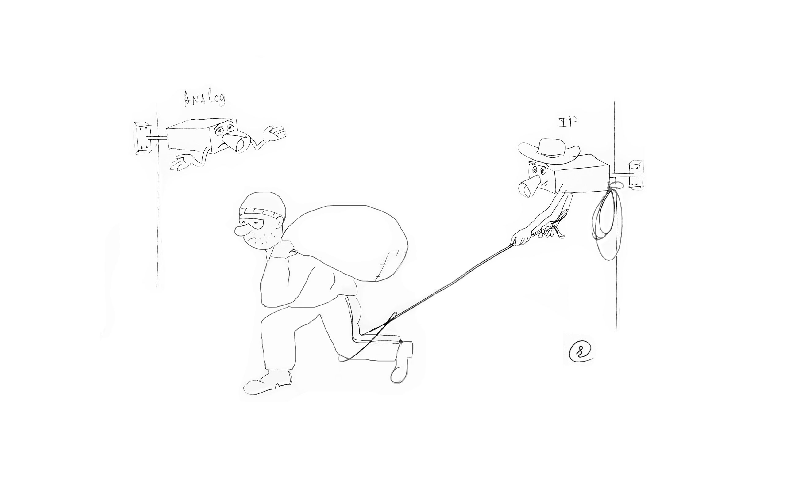 Две камеры видеонаблюдения снимают вора с мешком краденного . Первая - аналоговая - пожимает плечами. Вторая IP - кидает лассо на ногу грабителя.
