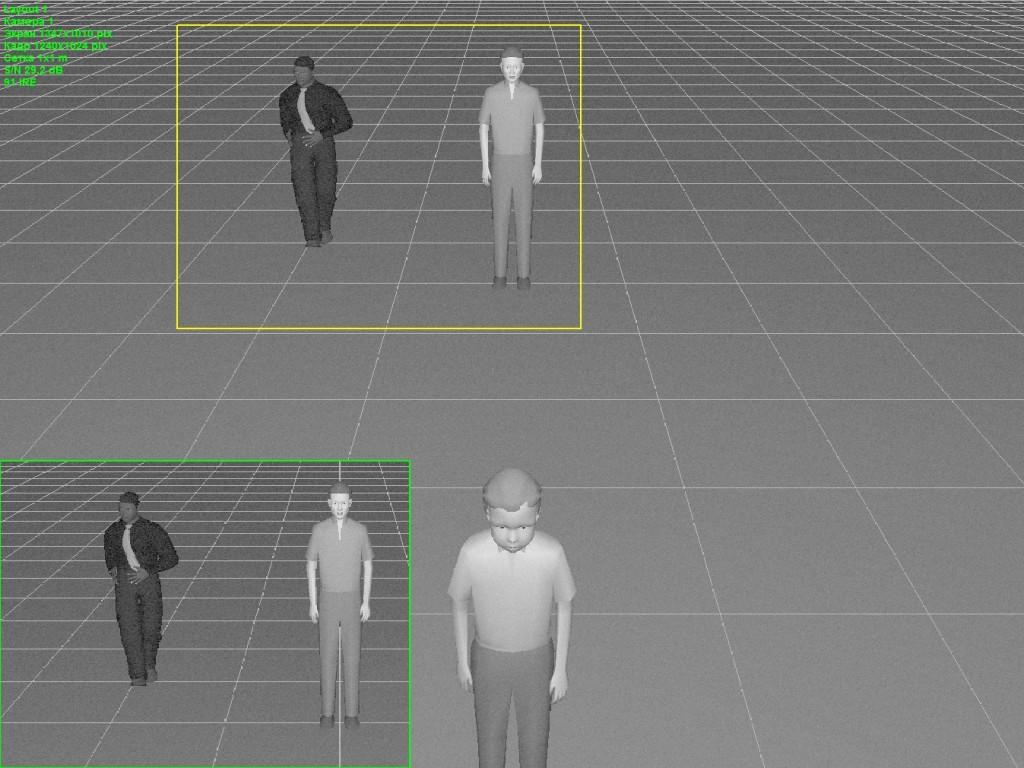 Изображение с камеры при минимальной освещенности 0,5 Лк, более-менее видны люди, лицо мальчика на переднем плане различимо