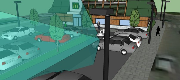 Ресторан McDonald's с установленной на столбе камерой AXIS