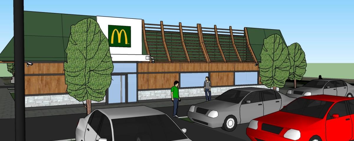 Ресторан McDonald's с установленной на углу камерой AXIS
