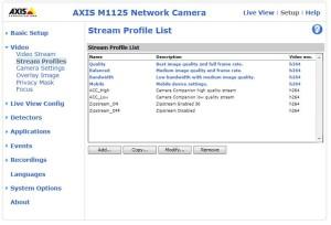 Web-interface сохранения пользовательских профилей видеопотоков