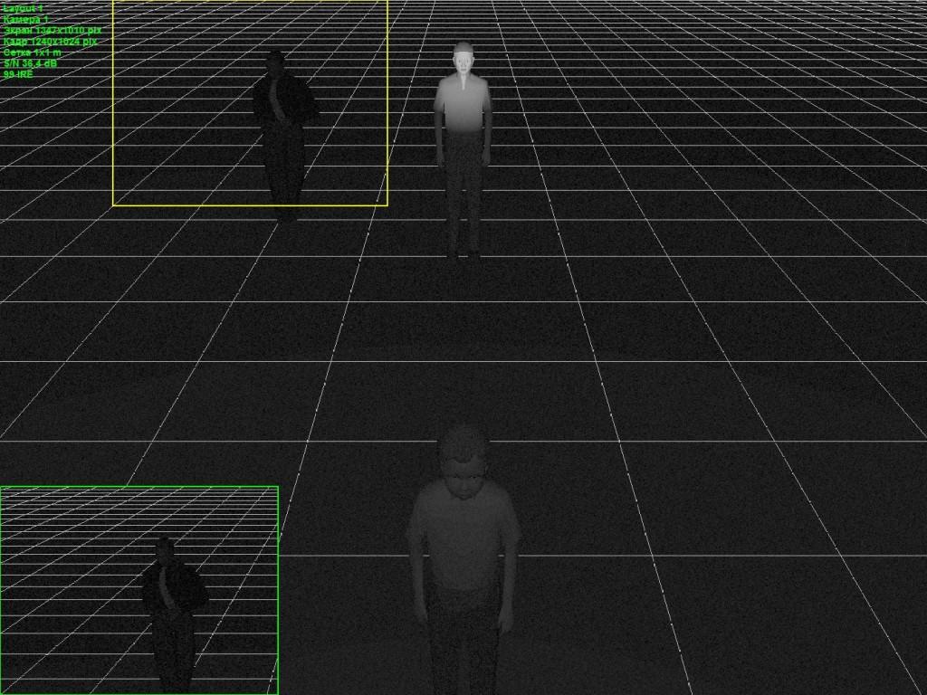 Вид с камеры. Весь поток от ИК-подсветки попадает на центральную дальнюю фигуру мужчины