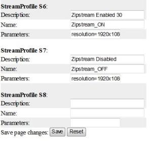 Web-interface профилей видео потоков