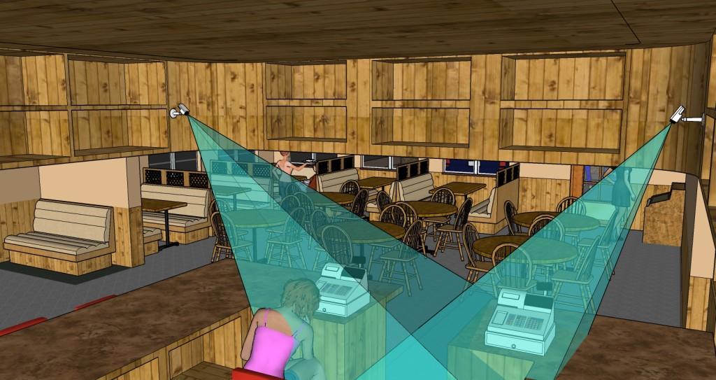 Взгляд на камеры №6-7 со стороны потолка барной стойки.