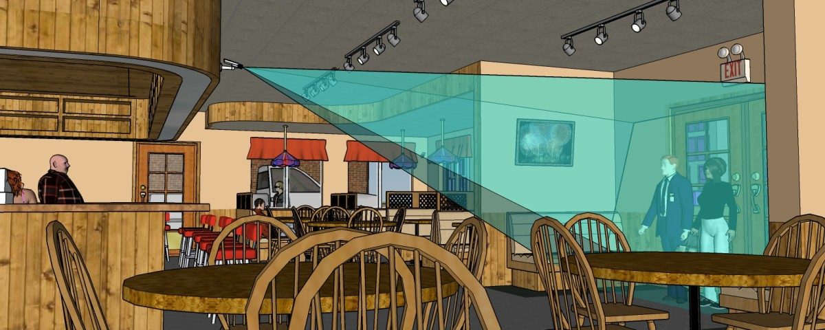 Взгляд на камеру №5 со стороны столика ресторана.