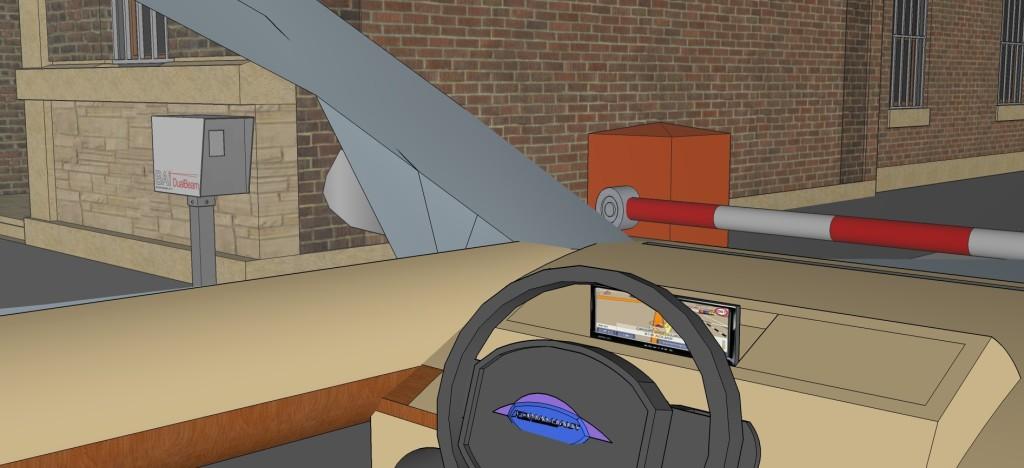 Вид из машины на переговорное устройство системы технологической связи с диспетчером