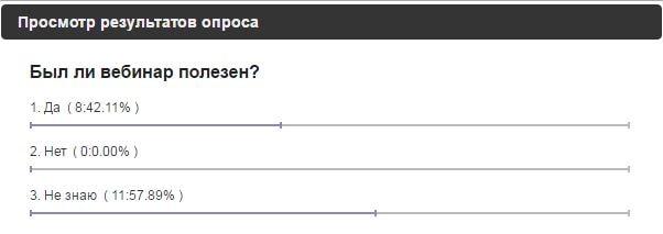 Опрос - был ли вебинар полезен?