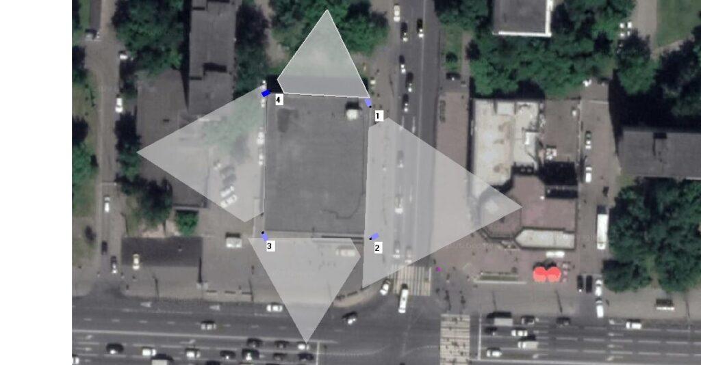 План-схема камер с зоной обзора