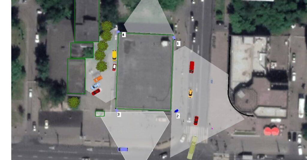 План-схема камер с учетом затенений препятствиями
