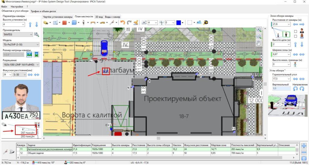 План-схема установки камеры на КПП ЖК