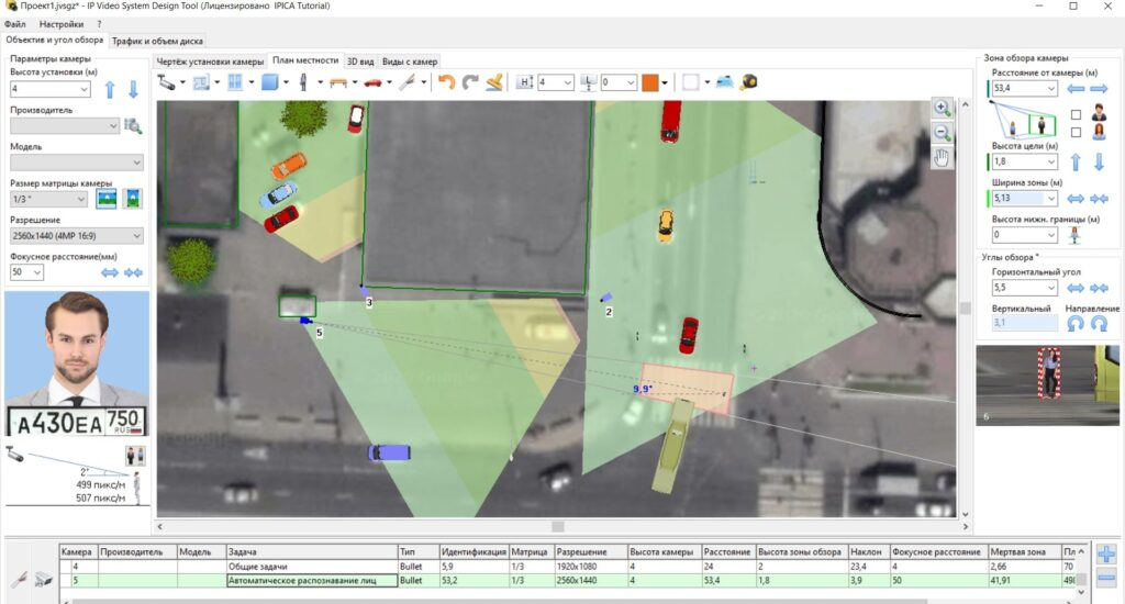 План-схема расположения камеры распознавания лиц